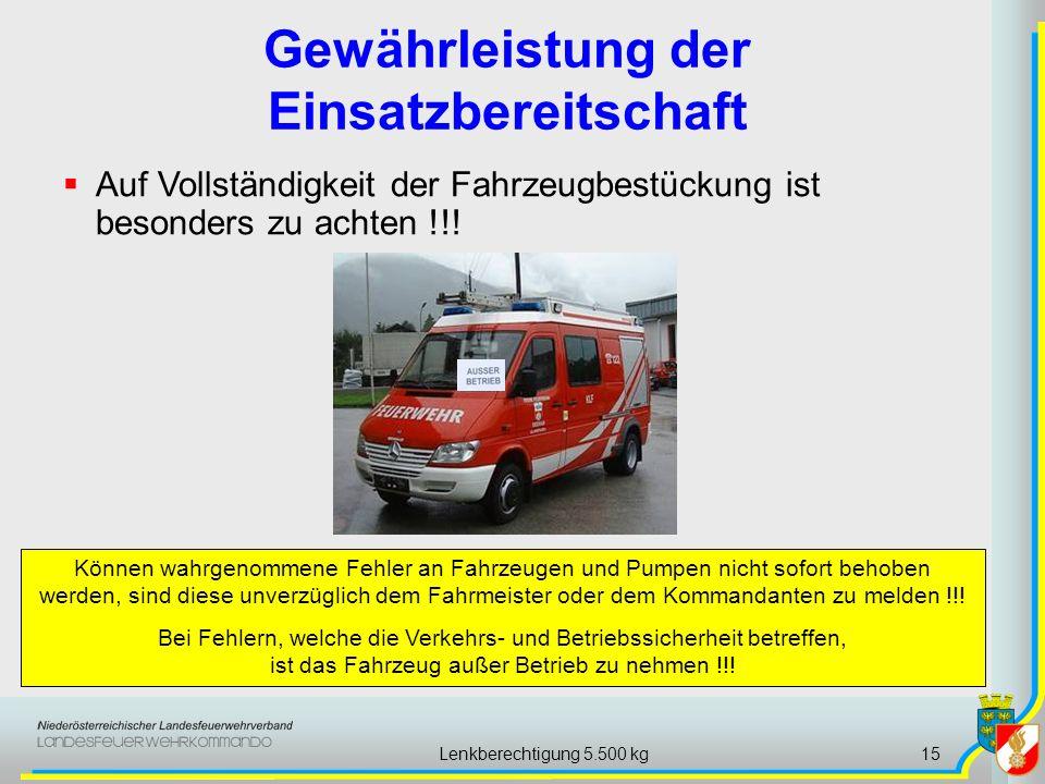Lenkberechtigung 5.500 kg15 Gewährleistung der Einsatzbereitschaft Können wahrgenommene Fehler an Fahrzeugen und Pumpen nicht sofort behoben werden, s