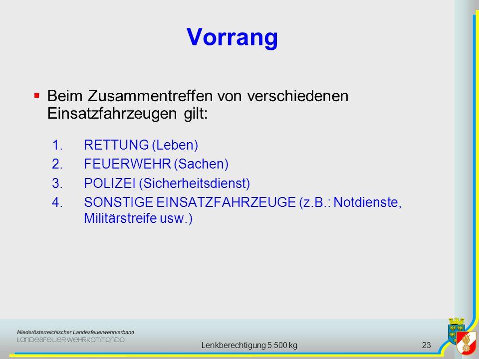 Lenkberechtigung 5.500 kg23 Vorrang 1.RETTUNG (Leben) 2.FEUERWEHR (Sachen) 3.POLIZEI (Sicherheitsdienst) 4.SONSTIGE EINSATZFAHRZEUGE (z.B.: Notdienste
