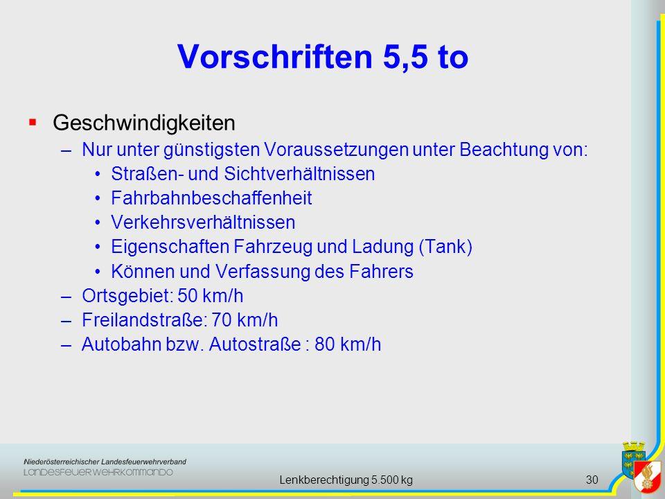 Lenkberechtigung 5.500 kg30 Vorschriften 5,5 to Geschwindigkeiten –Nur unter günstigsten Voraussetzungen unter Beachtung von: Straßen- und Sichtverhäl