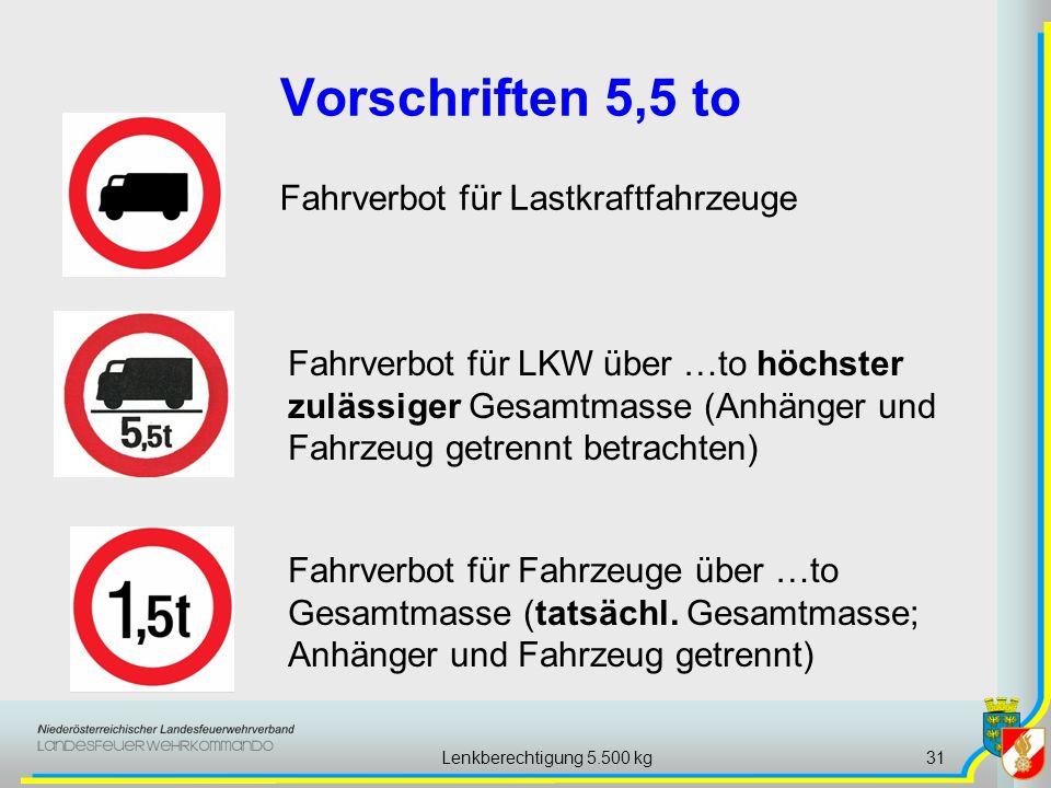 Lenkberechtigung 5.500 kg31 Vorschriften 5,5 to Fahrverbot für Lastkraftfahrzeuge Fahrverbot für Fahrzeuge über …to Gesamtmasse (tatsächl. Gesamtmasse