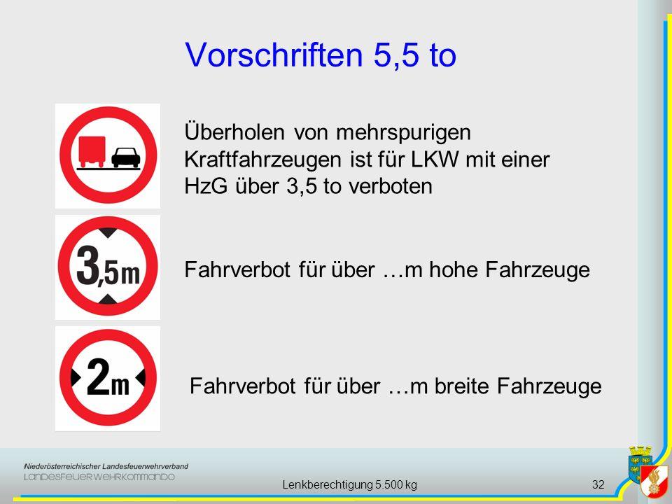 Lenkberechtigung 5.500 kg32 Vorschriften 5,5 to Fahrverbot für über …m hohe Fahrzeuge Fahrverbot für über …m breite Fahrzeuge Überholen von mehrspurig
