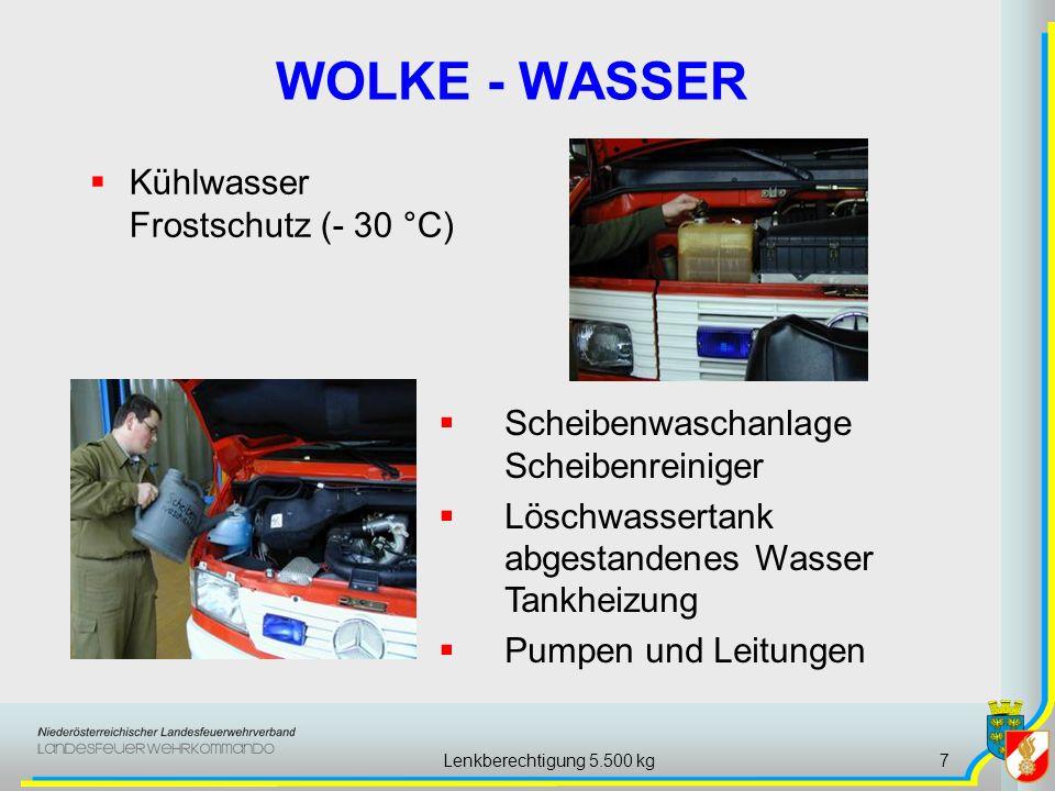 Lenkberechtigung 5.500 kg7 WOLKE - WASSER Kühlwasser Frostschutz (- 30 °C) Scheibenwaschanlage Scheibenreiniger Löschwassertank abgestandenes Wasser T