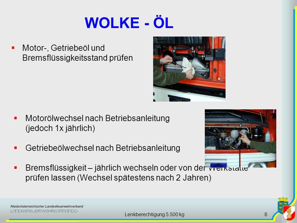 Lenkberechtigung 5.500 kg8 Motor-, Getriebeöl und Bremsflüssigkeitsstand prüfen WOLKE - ÖL Motorölwechsel nach Betriebsanleitung (jedoch 1x jährlich)