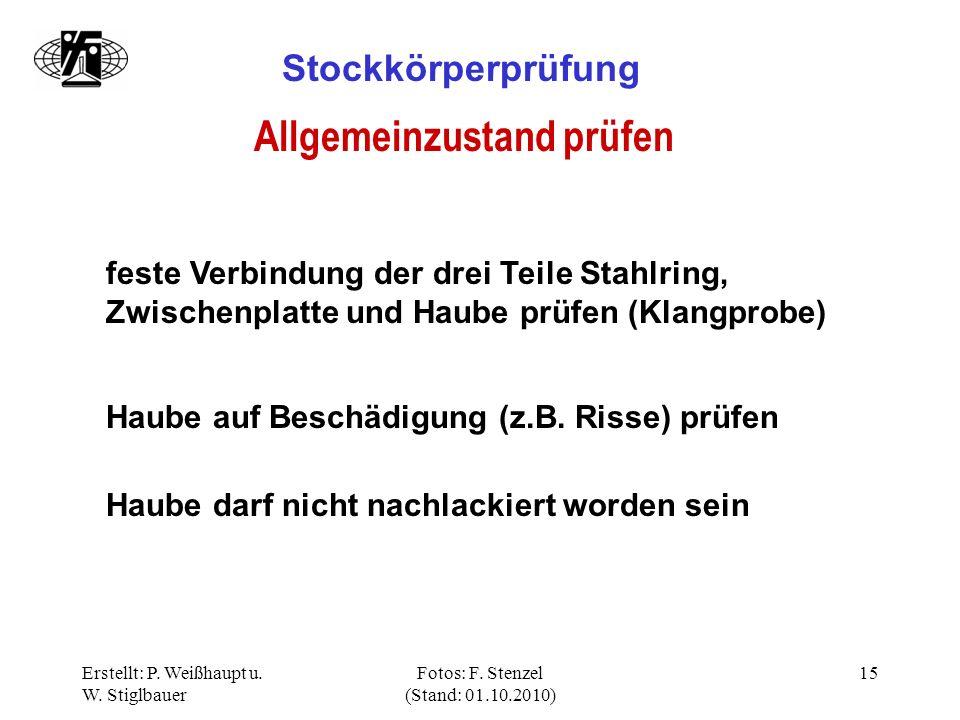 Erstellt: P. Weißhaupt u. W. Stiglbauer Fotos: F. Stenzel (Stand: 01.10.2010) 15 Stockkörperprüfung Allgemeinzustand prüfen feste Verbindung der drei