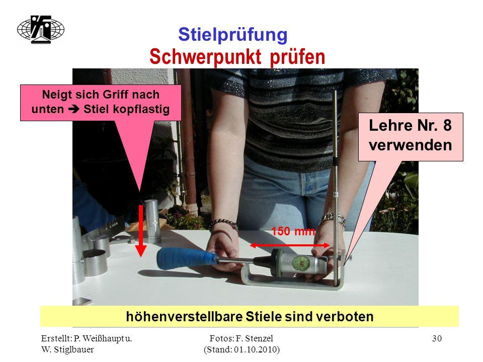 Erstellt: P. Weißhaupt u. W. Stiglbauer Fotos: F. Stenzel (Stand: 01.10.2010) 30 Stielprüfung Schwerpunkt prüfen Lehre Nr. 8 verwenden höhenverstellba