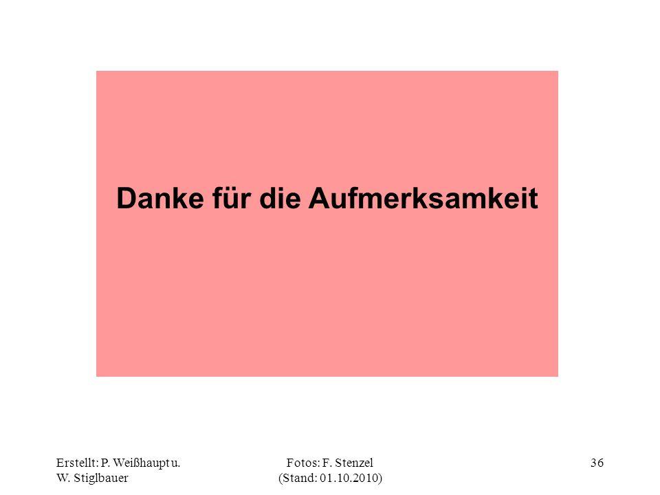 Erstellt: P. Weißhaupt u. W. Stiglbauer Fotos: F. Stenzel (Stand: 01.10.2010) 36 Danke für die Aufmerksamkeit