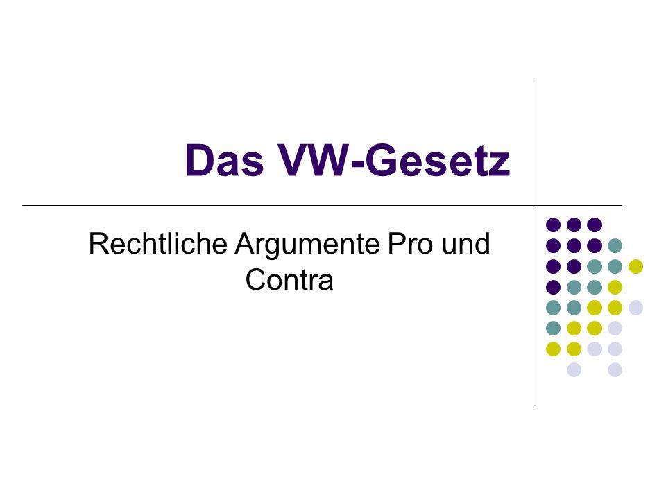 Das VW-Gesetz Rechtliche Argumente Pro und Contra
