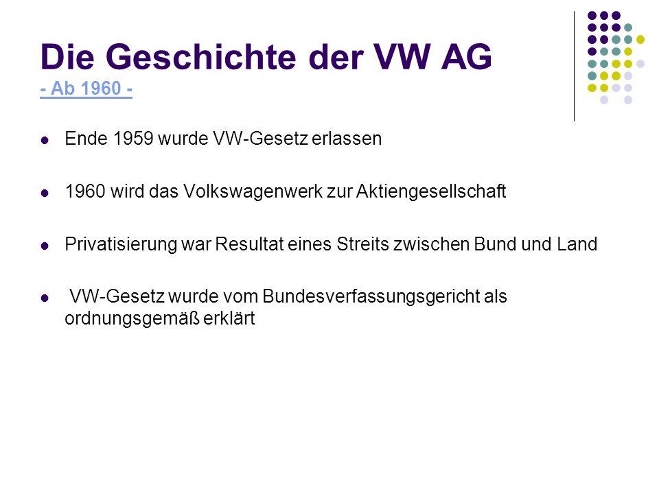 Die Geschichte der VW AG - Ab 1960 - Ende 1959 wurde VW-Gesetz erlassen 1960 wird das Volkswagenwerk zur Aktiengesellschaft Privatisierung war Resulta