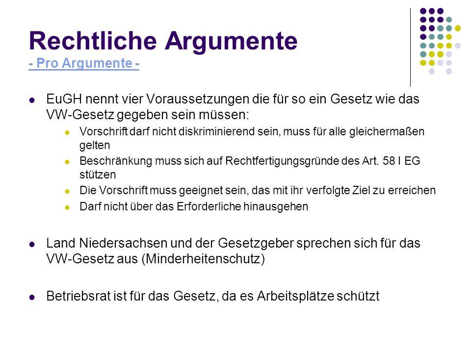 Rechtliche Argumente - Pro Argumente - EuGH nennt vier Voraussetzungen die für so ein Gesetz wie das VW-Gesetz gegeben sein müssen: Vorschrift darf ni