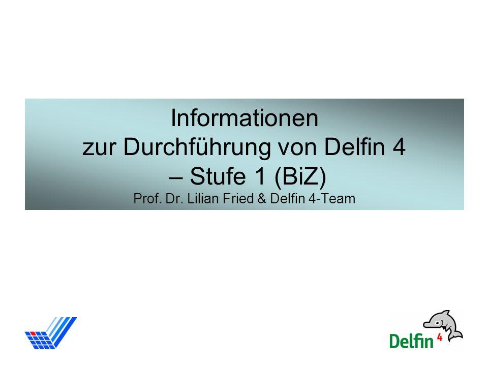 1 Informationen zur Durchführung von Delfin 4 – Stufe 1 (BiZ) Prof. Dr. Lilian Fried & Delfin 4-Team