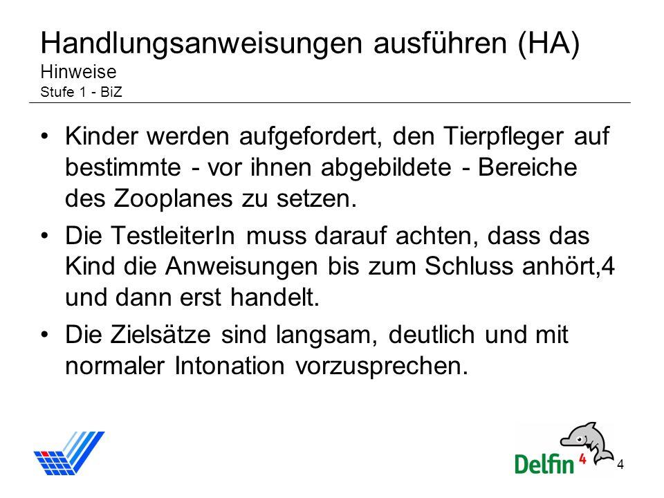 4 Handlungsanweisungen ausführen (HA) Hinweise Stufe 1 - BiZ Kinder werden aufgefordert, den Tierpfleger auf bestimmte - vor ihnen abgebildete - Berei