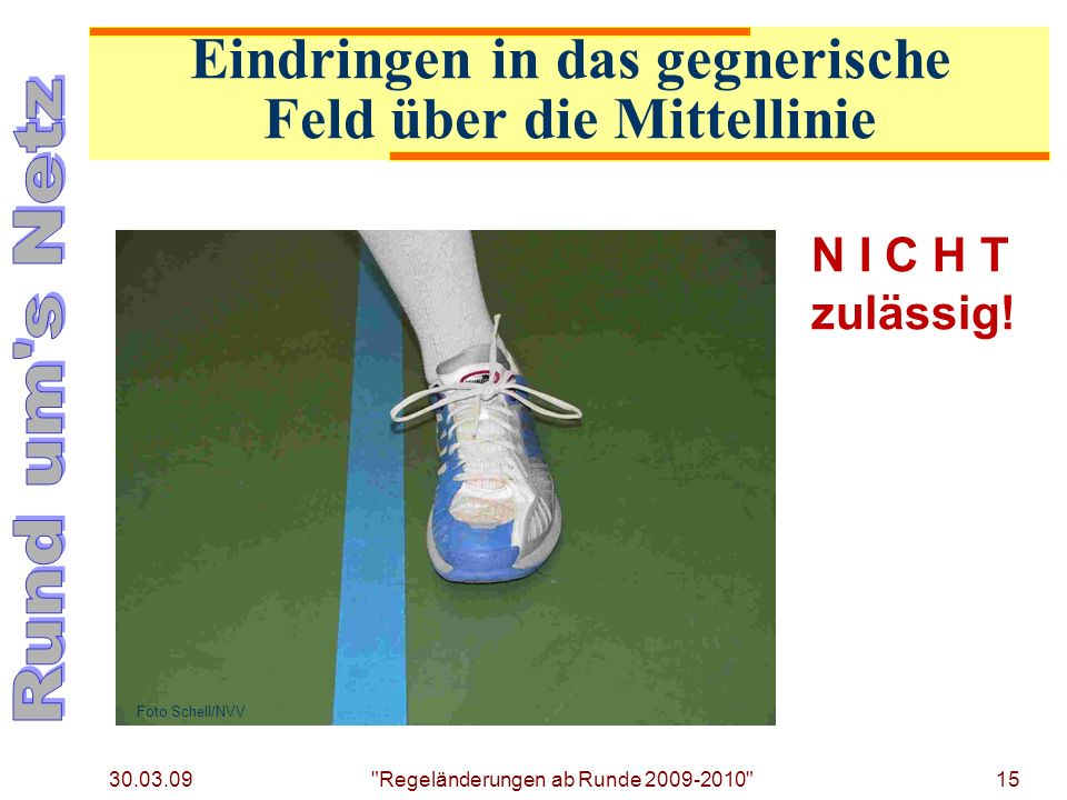 30.03.09 Regeländerungen ab Runde 2009-2010 15 N I C H T zulässig.