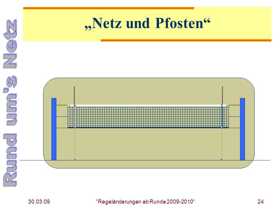 30.03.09 24 Regeländerungen ab Runde 2009-2010 Netz und Pfosten