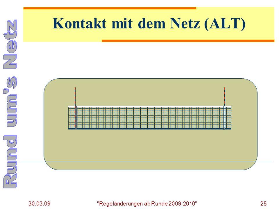 30.03.09 25 Regeländerungen ab Runde 2009-2010 Kontakt mit dem Netz (ALT)