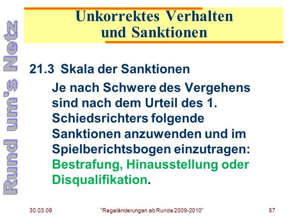 30.03.09 Regeländerungen ab Runde 2009-2010 57 21.3Skala der Sanktionen Je nach Schwere des Vergehens sind nach dem Urteil des 1.