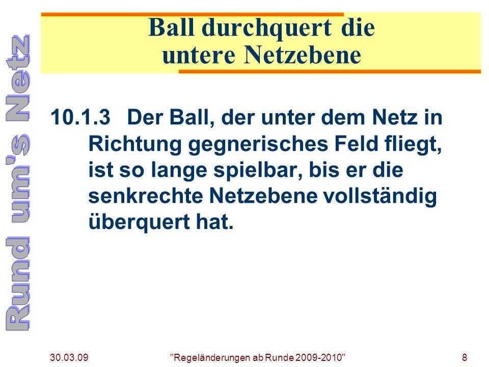 30.03.09 Regeländerungen ab Runde 2009-2010 8 10.1.3Der Ball, der unter dem Netz in Richtung gegnerisches Feld fliegt, ist so lange spielbar, bis er die senkrechte Netzebene vollständig überquert hat.