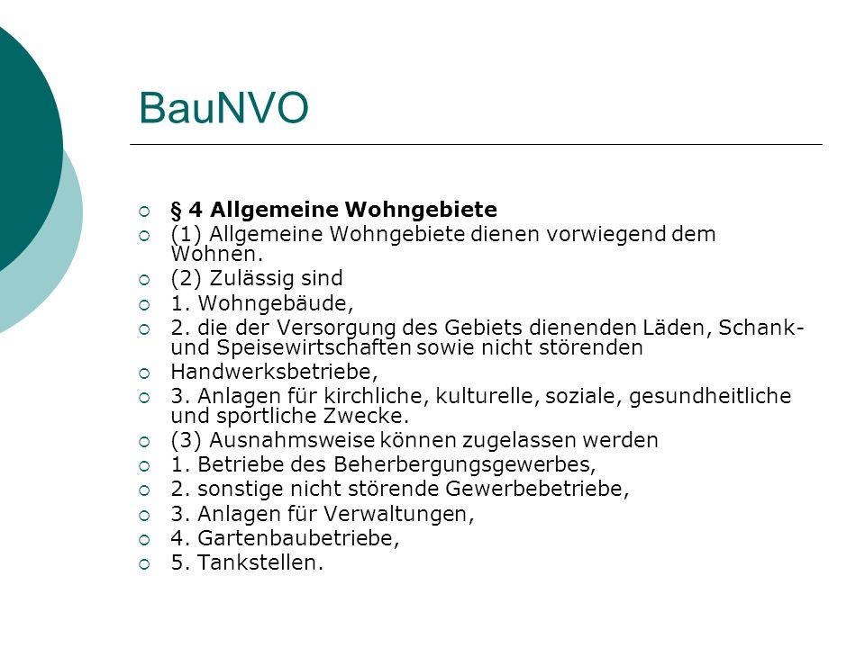 BauNVO § 4 Allgemeine Wohngebiete (1) Allgemeine Wohngebiete dienen vorwiegend dem Wohnen. (2) Zulässig sind 1. Wohngebäude, 2. die der Versorgung des