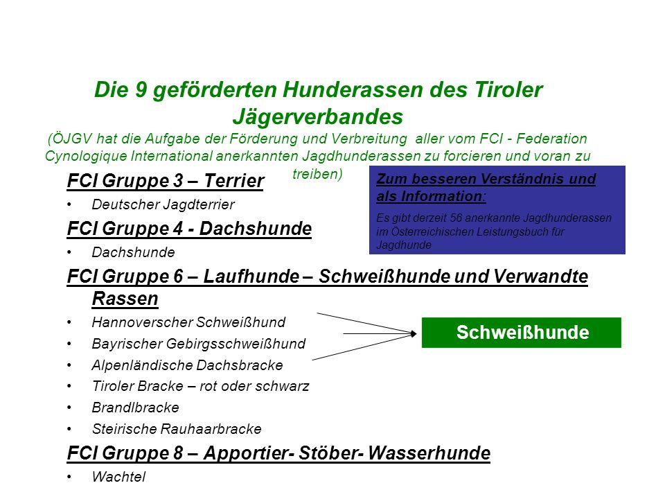 Die 9 geförderten Hunderassen des Tiroler Jägerverbandes (ÖJGV hat die Aufgabe der Förderung und Verbreitung aller vom FCI - Federation Cynologique In