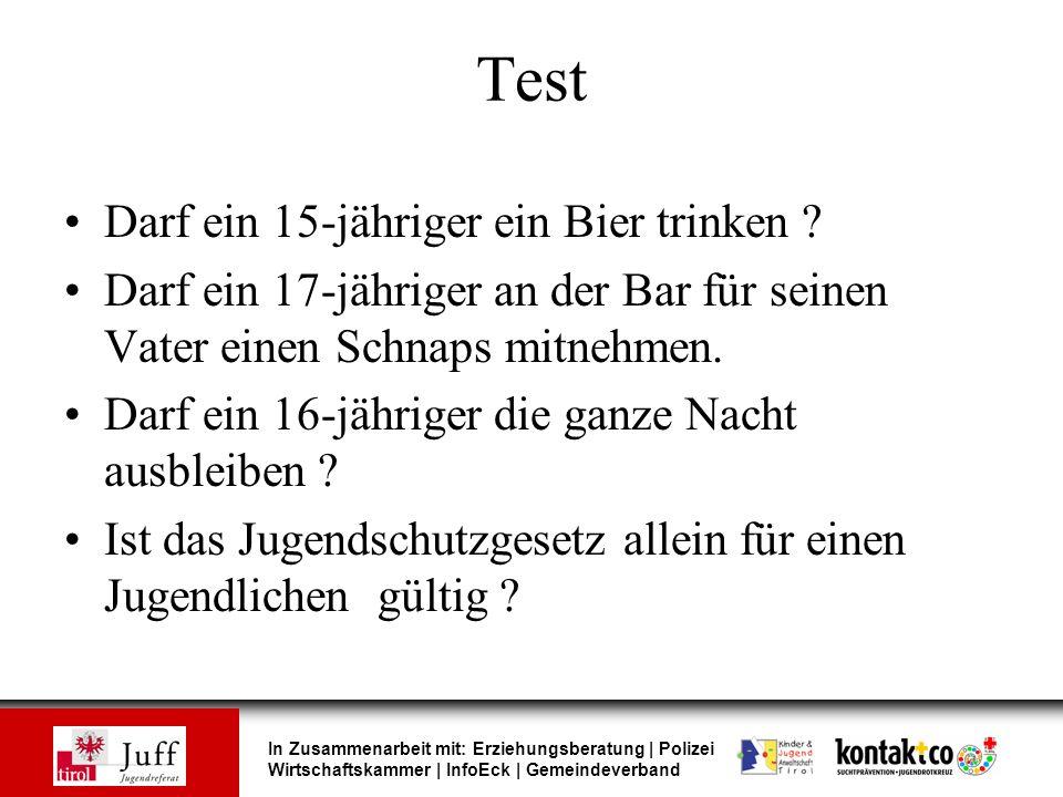 In Zusammenarbeit mit: Erziehungsberatung | Polizei Wirtschaftskammer | InfoEck | Gemeindeverband Test Darf ein 15-jähriger ein Bier trinken ? Darf ei