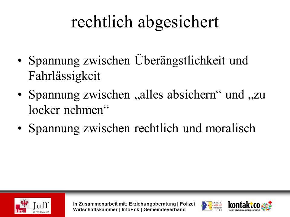 In Zusammenarbeit mit: Erziehungsberatung | Polizei Wirtschaftskammer | InfoEck | Gemeindeverband rechtlich abgesichert Spannung zwischen Überängstlic