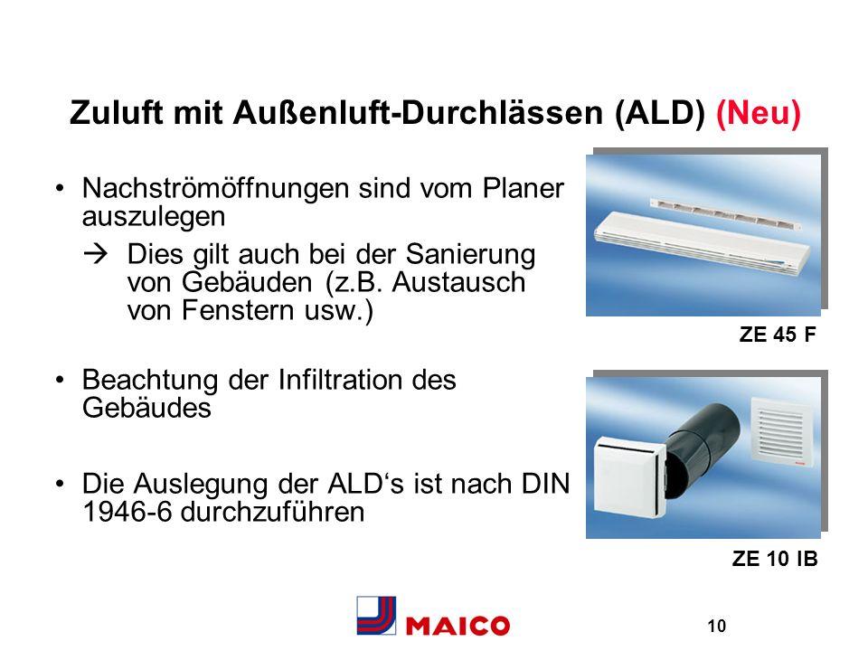 10 Zuluft mit Außenluft-Durchlässen (ALD) (Neu) Nachströmöffnungen sind vom Planer auszulegen Dies gilt auch bei der Sanierung von Gebäuden (z.B. Aust