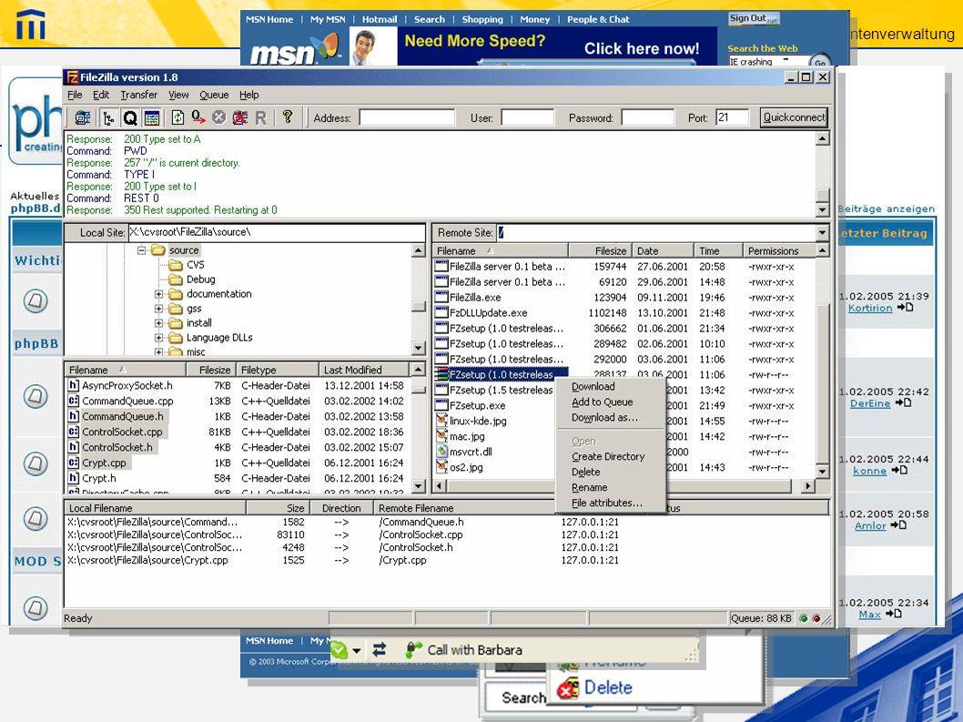 ICT – Dokumentenverwaltung Informationsaustausch im Internet Wer hat Erfahrung? Software? -E-Mail -MSN, ICQ, Skype, … -Foren -FTP