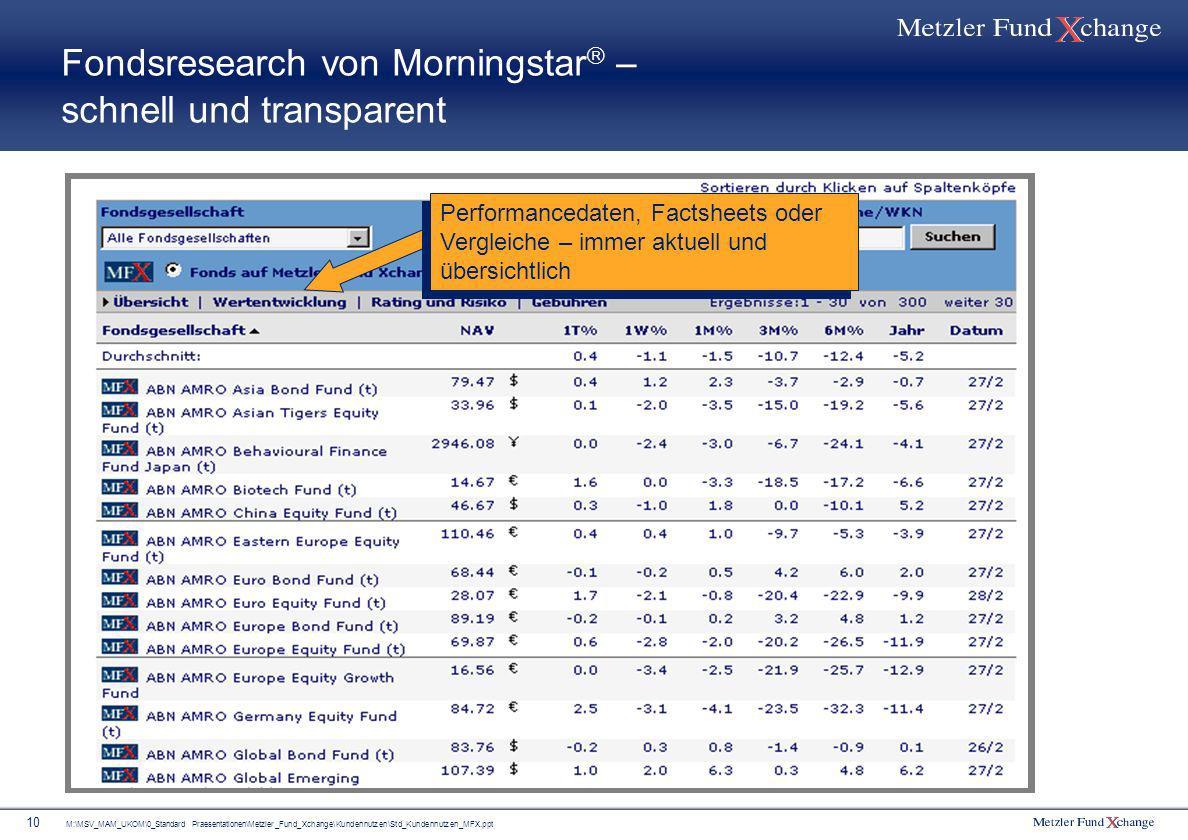 M:\MSV_MAM_UKOM\0_Standard Praesentationen\Metzler_Fund_Xchange\Kundennutzen\Std_Kundennutzen_MFX.ppt 10 Fondsresearch von Morningstar – schnell und t