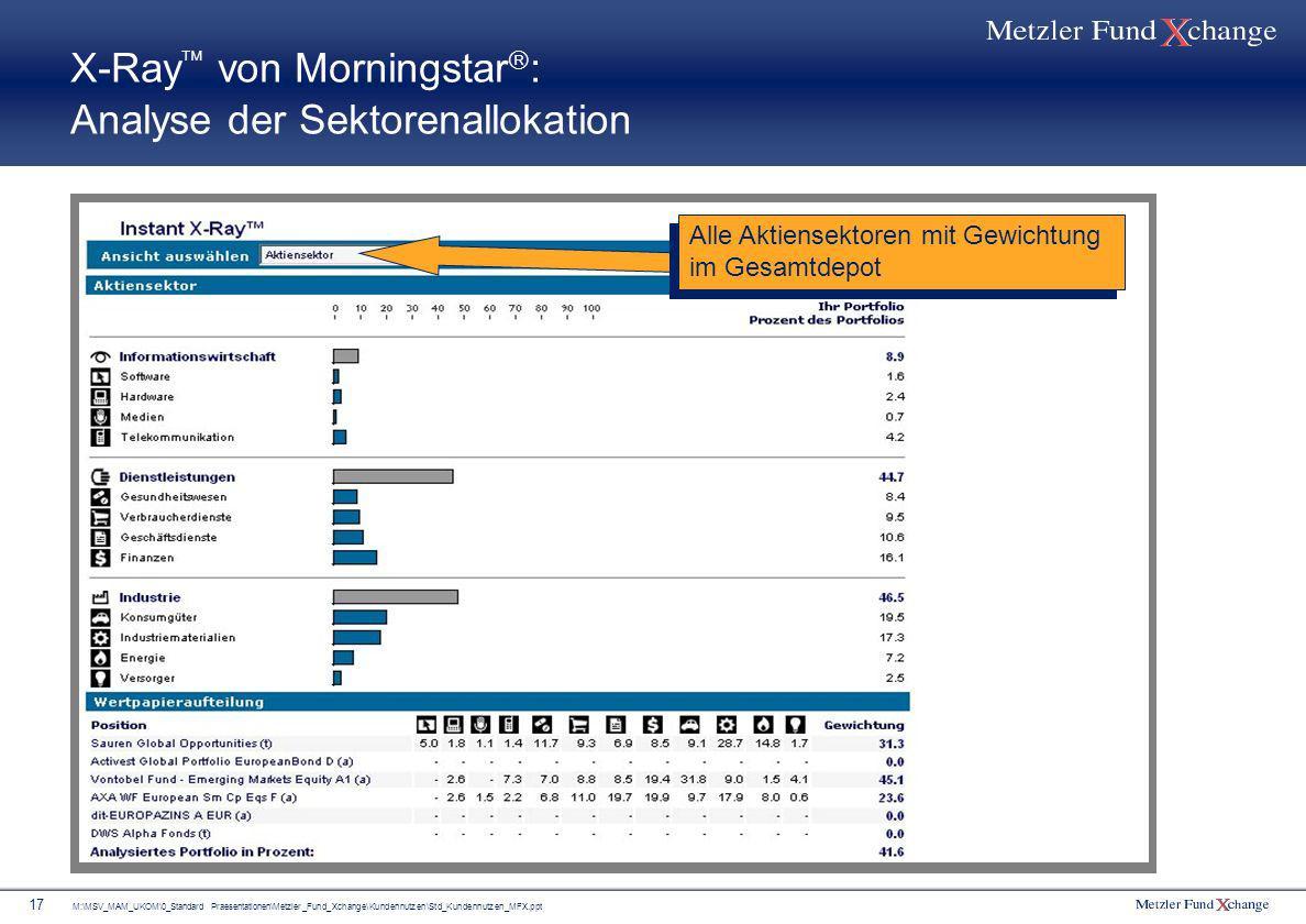 M:\MSV_MAM_UKOM\0_Standard Praesentationen\Metzler_Fund_Xchange\Kundennutzen\Std_Kundennutzen_MFX.ppt 17 X-Ray von Morningstar : Analyse der Sektorena