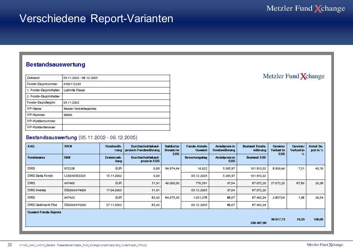 M:\MSV_MAM_UKOM\0_Standard Praesentationen\Metzler_Fund_Xchange\Kundennutzen\Std_Kundennutzen_MFX.ppt 20 Verschiedene Report-Varianten