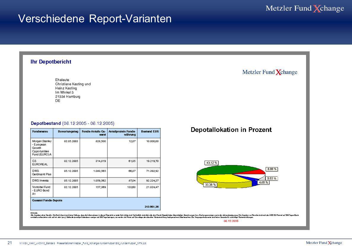 M:\MSV_MAM_UKOM\0_Standard Praesentationen\Metzler_Fund_Xchange\Kundennutzen\Std_Kundennutzen_MFX.ppt 21 Verschiedene Report-Varianten