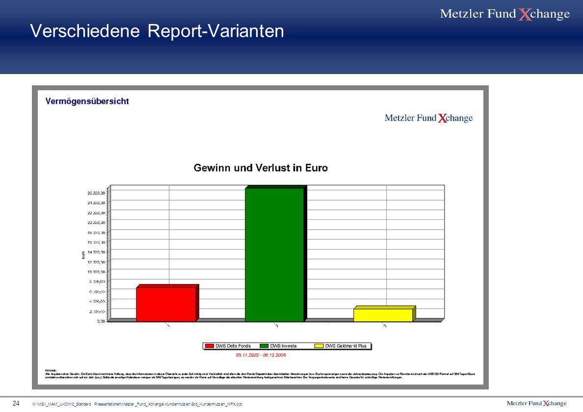 M:\MSV_MAM_UKOM\0_Standard Praesentationen\Metzler_Fund_Xchange\Kundennutzen\Std_Kundennutzen_MFX.ppt 24 Verschiedene Report-Varianten