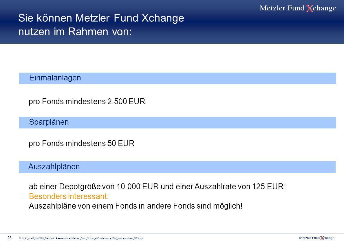 M:\MSV_MAM_UKOM\0_Standard Praesentationen\Metzler_Fund_Xchange\Kundennutzen\Std_Kundennutzen_MFX.ppt 26 Sie können Metzler Fund Xchange nutzen im Rah