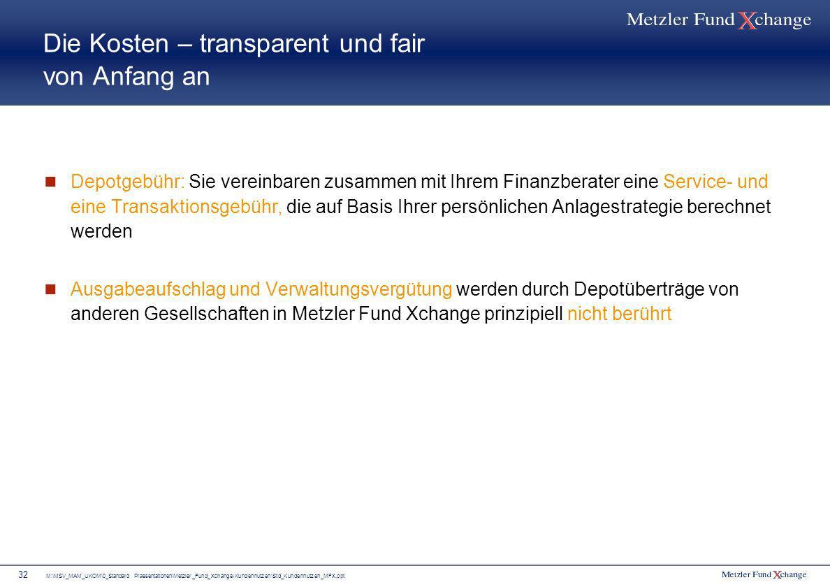 M:\MSV_MAM_UKOM\0_Standard Praesentationen\Metzler_Fund_Xchange\Kundennutzen\Std_Kundennutzen_MFX.ppt 32 Die Kosten – transparent und fair von Anfang