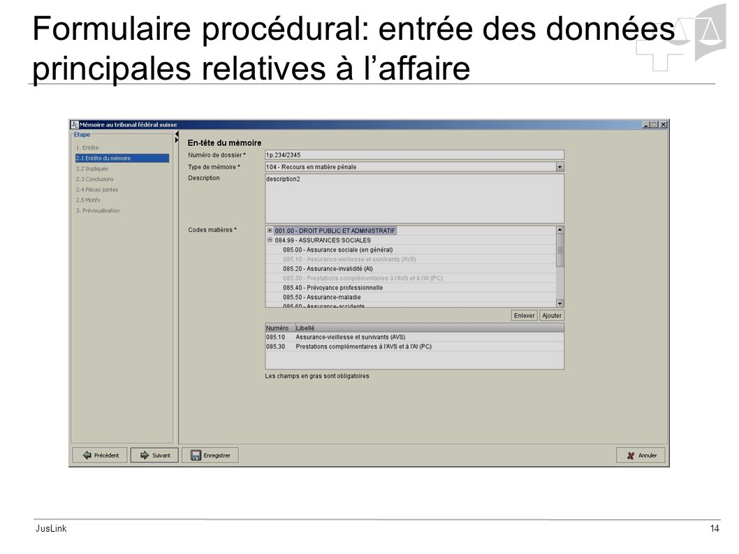 JusLink14 Formulaire procédural: entrée des données principales relatives à laffaire