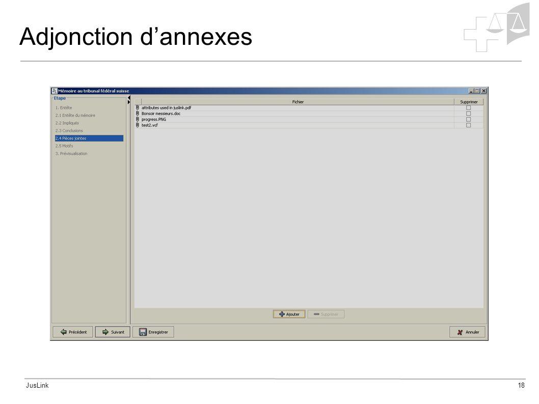 JusLink18 Adjonction dannexes
