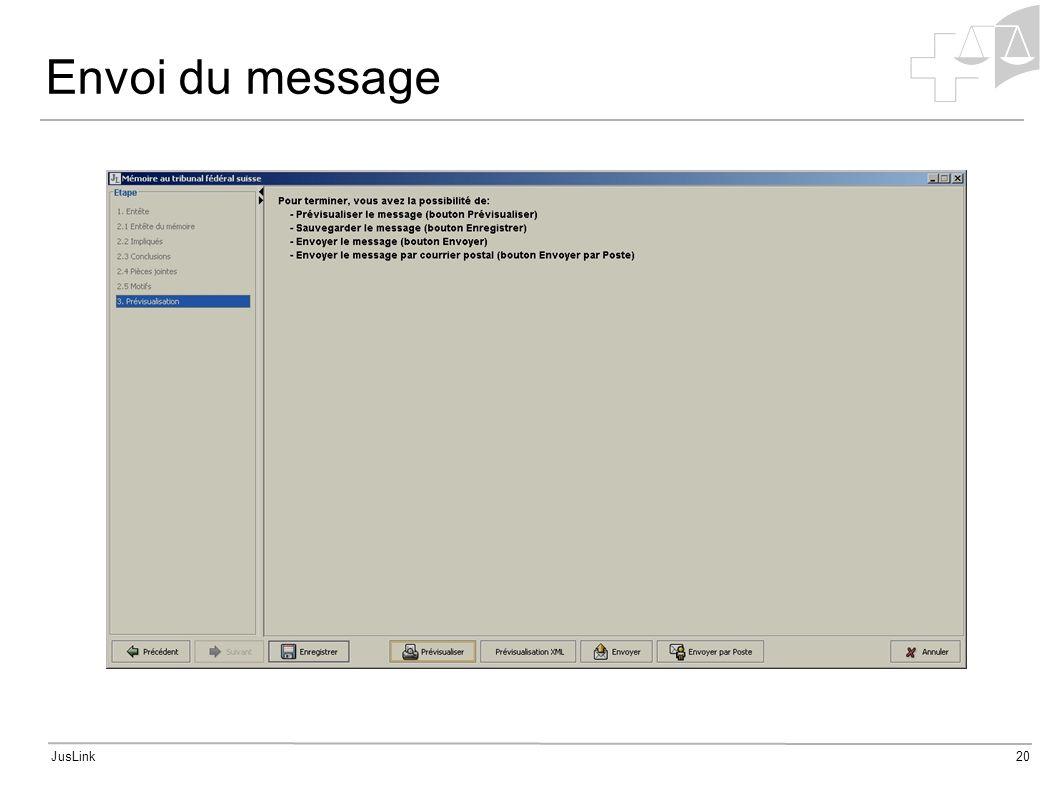 JusLink20 Envoi du message