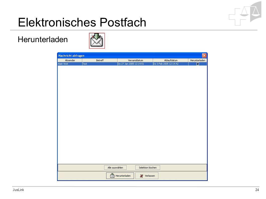JusLink24 Herunterladen Elektronisches Postfach