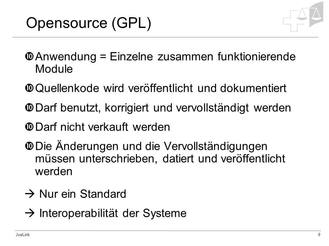 JusLink9 Opensource (GPL) Anwendung = Einzelne zusammen funktionierende Module Quellenkode wird veröffentlicht und dokumentiert Darf benutzt, korrigiert und vervollständigt werden Darf nicht verkauft werden Die Änderungen und die Vervollständigungen müssen unterschrieben, datiert und veröffentlicht werden Nur ein Standard Interoperabilität der Systeme