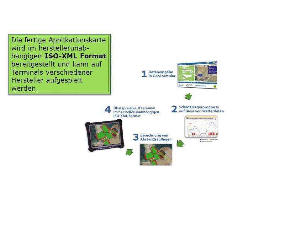 Die fertige Applikationskarte wird im herstellerunab- hängigen ISO-XML Format bereitgestellt und kann auf Terminals verschiedener Hersteller aufgespie