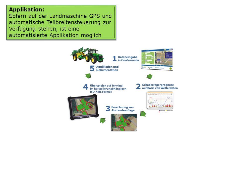 Applikation: Sofern auf der Landmaschine GPS und automatische Teilbreitensteuerung zur Verfügung stehen, ist eine automatisierte Applikation möglich A