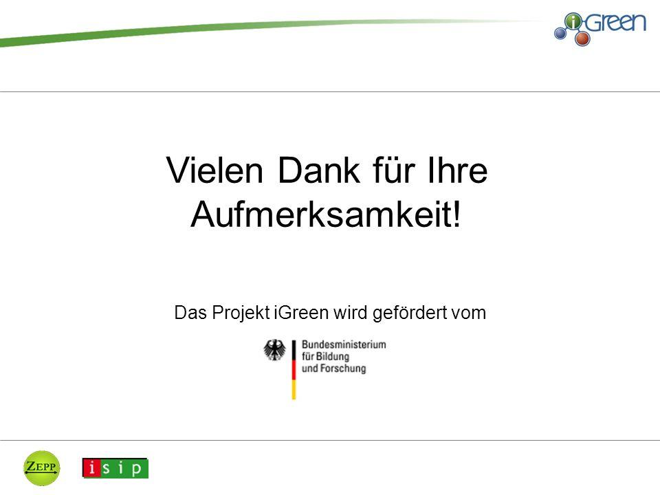 Das Projekt iGreen wird gefördert vom Vielen Dank für Ihre Aufmerksamkeit!