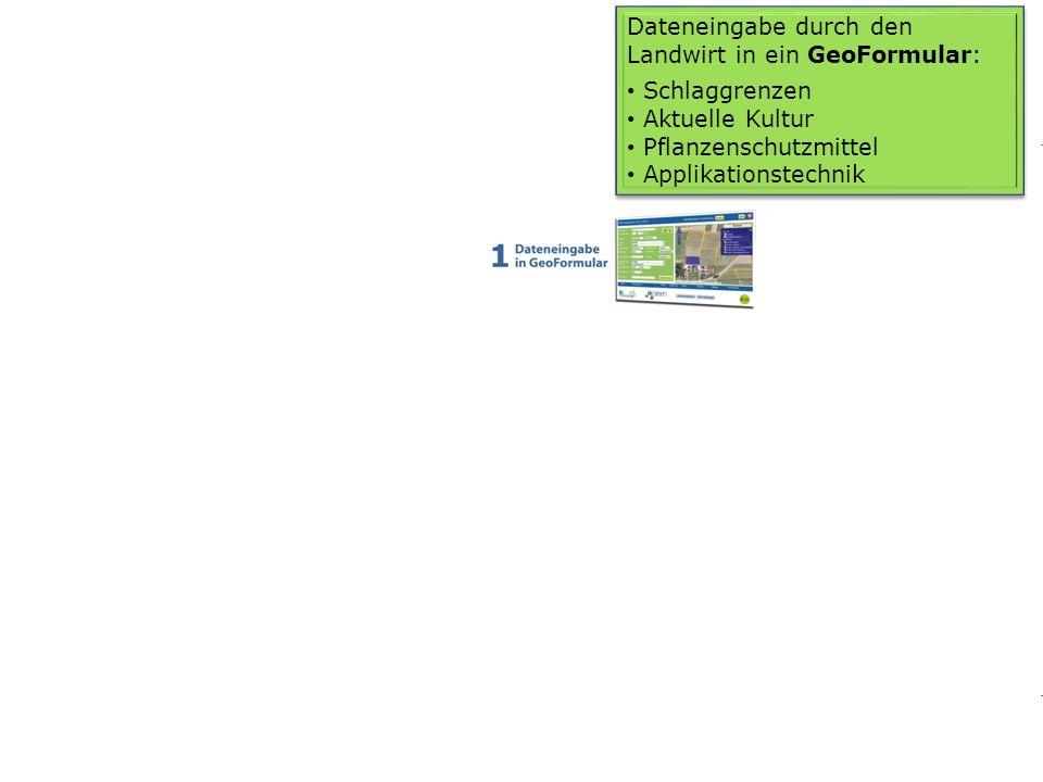 1010 Dateneingabe durch den Landwirt in ein GeoFormular: Schlaggrenzen Aktuelle Kultur Pflanzenschutzmittel Applikationstechnik Dateneingabe durch den
