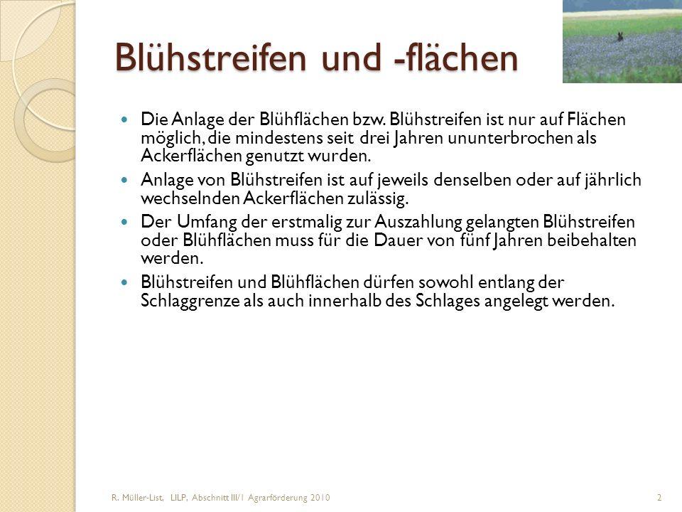 R. Müller-List, LILP, Abschnitt III/1 Agrarförderung 2010 2 Blühstreifen und -flächen Die Anlage der Blühflächen bzw. Blühstreifen ist nur auf Flächen
