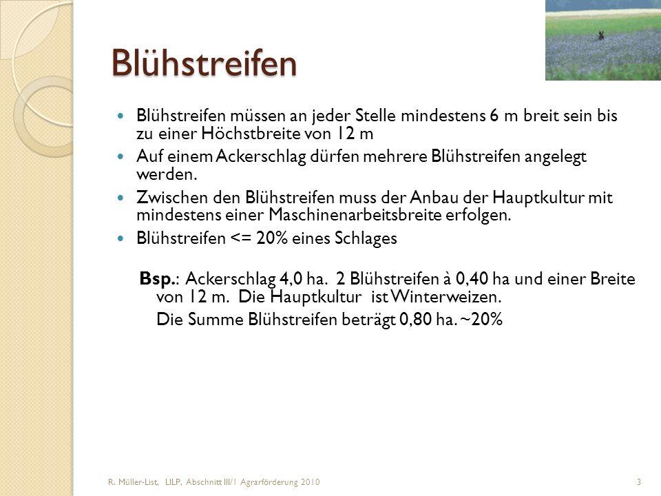 R. Müller-List, LILP, Abschnitt III/1 Agrarförderung 2010 3 Blühstreifen Blühstreifen müssen an jeder Stelle mindestens 6 m breit sein bis zu einer Hö