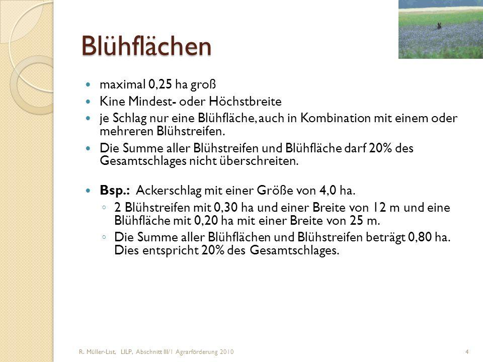 R. Müller-List, LILP, Abschnitt III/1 Agrarförderung 2010 4 Blühflächen maximal 0,25 ha groß Kine Mindest- oder Höchstbreite je Schlag nur eine Blühfl