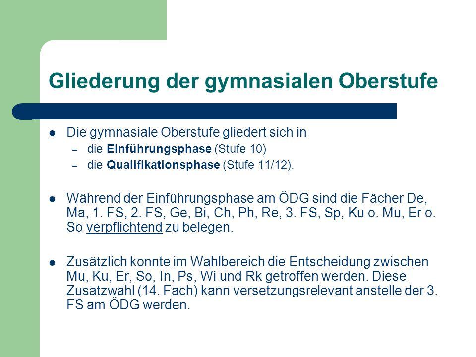Übergang EP QP Die Versetzung aus der Einführungsphase (EP) in die Qualifikationsphase (QP) erfolgt entsprechend § 11, wenn in allen verpflichtend belegten Fächern mind.