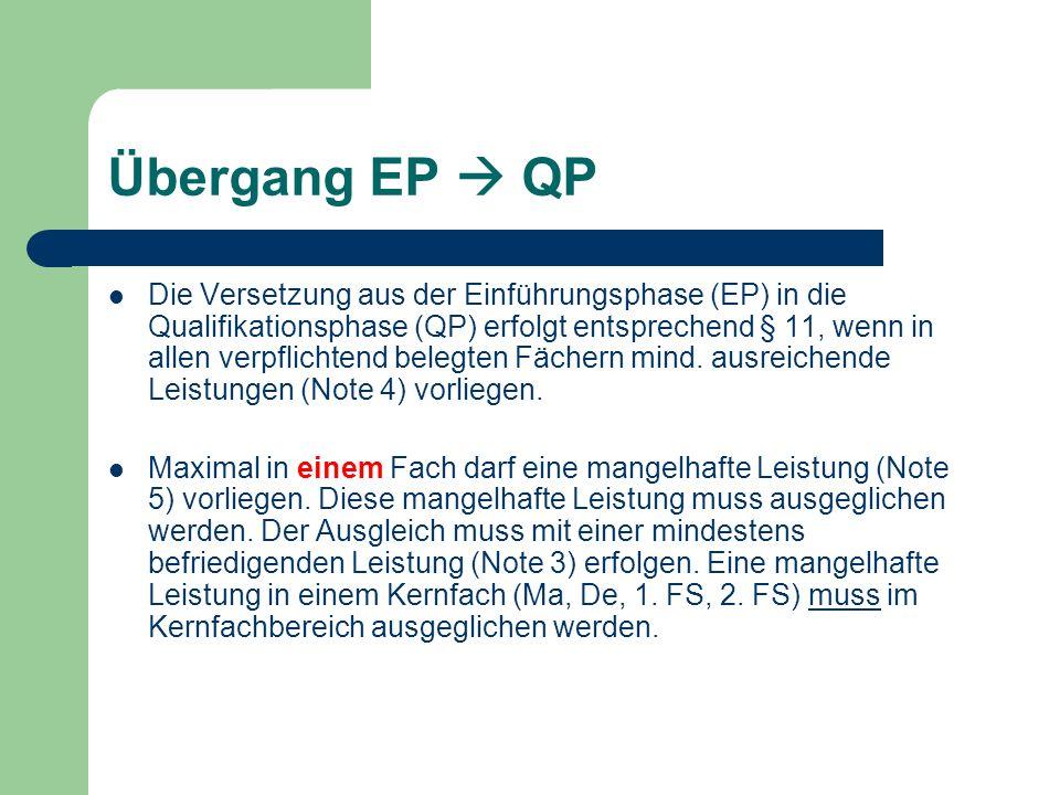 Übergang EP QP Die Versetzung aus der Einführungsphase (EP) in die Qualifikationsphase (QP) erfolgt entsprechend § 11, wenn in allen verpflichtend bel