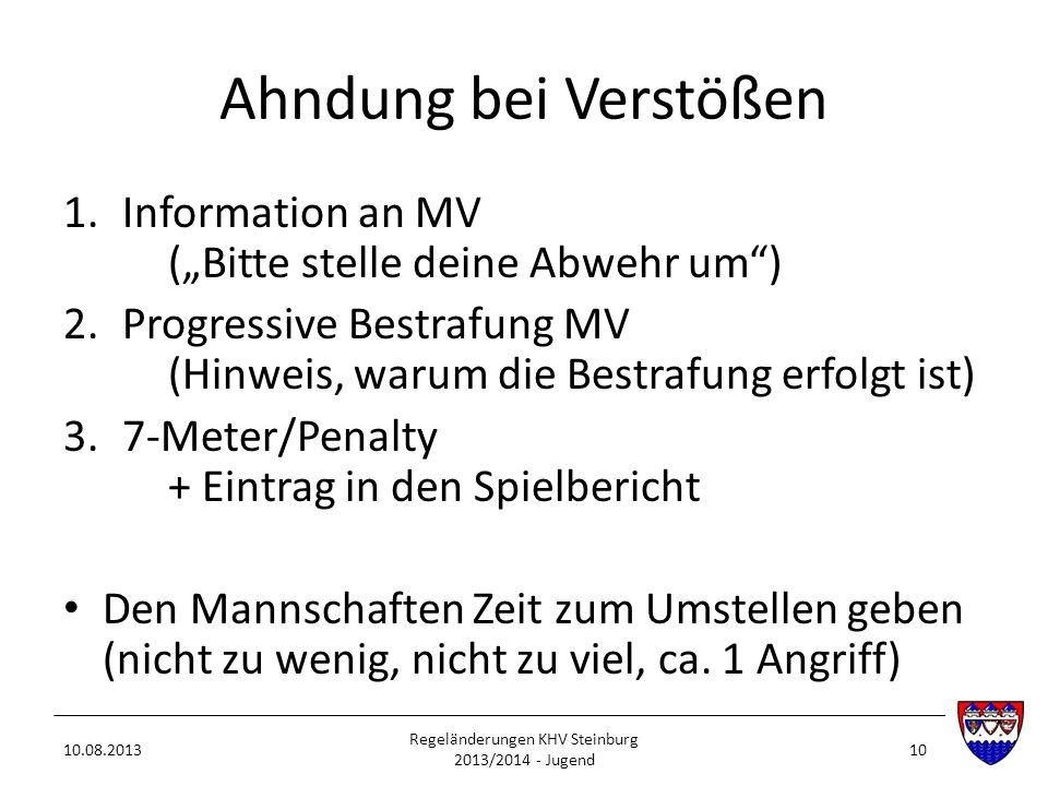 Ahndung bei Verstößen 1.Information an MV (Bitte stelle deine Abwehr um) 2.Progressive Bestrafung MV (Hinweis, warum die Bestrafung erfolgt ist) 3.7-M