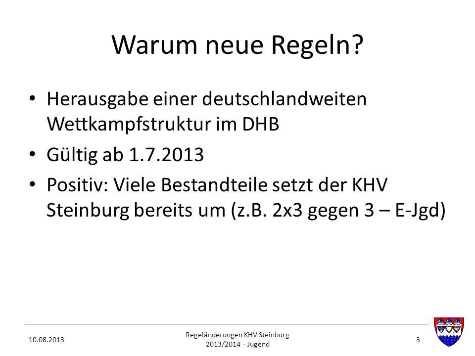 Warum neue Regeln? Herausgabe einer deutschlandweiten Wettkampfstruktur im DHB Gültig ab 1.7.2013 Positiv: Viele Bestandteile setzt der KHV Steinburg