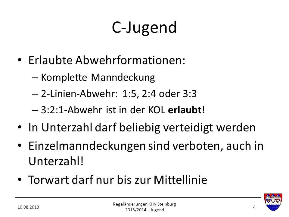 C-Jugend Erlaubte Abwehrformationen: – Komplette Manndeckung – 2-Linien-Abwehr: 1:5, 2:4 oder 3:3 – 3:2:1-Abwehr ist in der KOL erlaubt! In Unterzahl